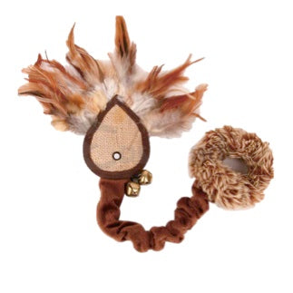 CAT TOY SISAL FISH SHAPE FEATHERS & BELLS