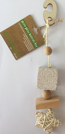CHEW TOY HANGING LAVA STONE & SISAL STAR