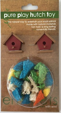 CHEW TOY WOODEN BIRD HOUSES & LOOFA COMBO