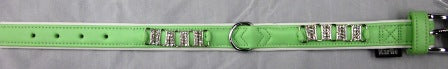 COLLAR GREEN WITH DIAMANTE 22mm wide x 35cm long