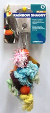 BIRD TOY RAINBOW SHAGGY ROPE WITH WOOD SMALL