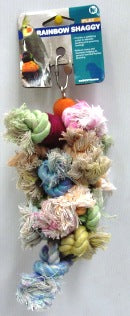 BIRD TOY RAINBOW SHAGGY ROPE WITH WOOD MEDIUM