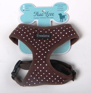 BROWN XLARGE POLKA DOTS D-ring HARNESS
