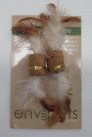 CAT TOY CORK WITH FEATHER 2PC
