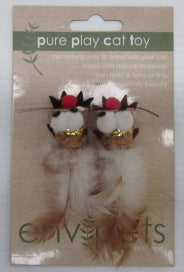 CAT TOY CORK MOUSE WITH FEATHER 2PC