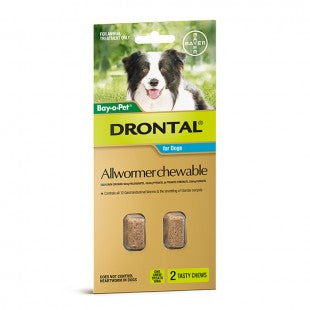 DRONTAL CHEWABLE FOR MEDIUM DOGS 3 - 10KGS (2 PACK)