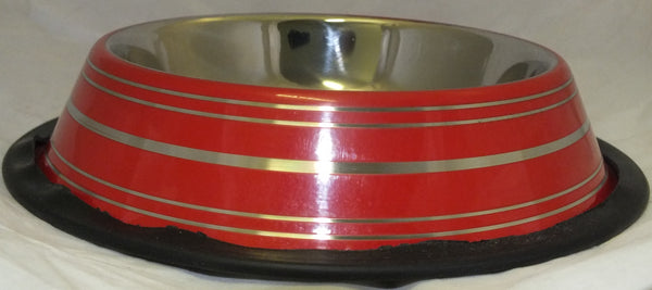 BOWL STAINLESS STEEL NON SKID 16oz RED