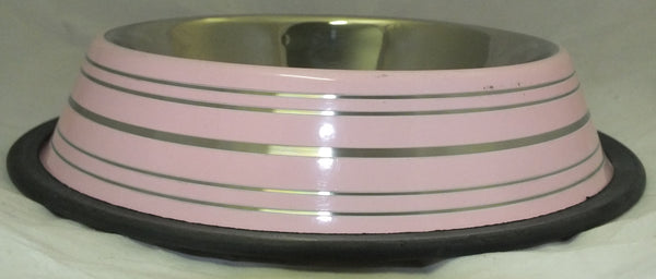 BOWL STAINLESS STEEL NON SKID 16oz PINK