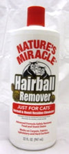NATURE'S MIRACLE CAT HAIRBALL REMOVER 32oz