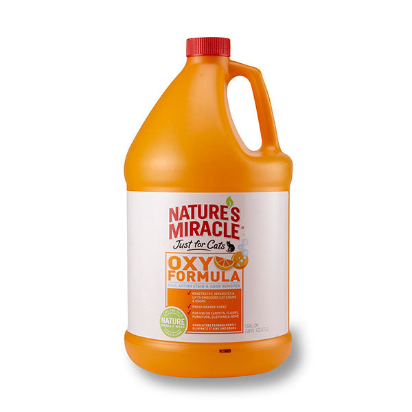 NATURE'S MIRACLE JUST FOR CATS ORANGE OXY STAIN & ODOUR REMOVER 1 GALLON