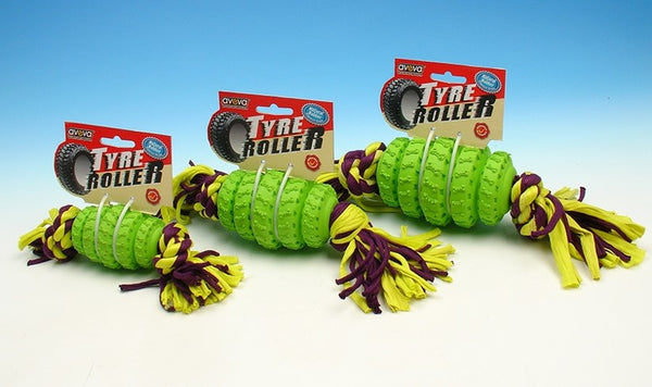 TYRE ROLLER WITH ROPE LARGE GREEN