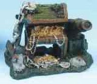 ORNAMENT RESIN TREASURE CHEST & CANNON SMALL