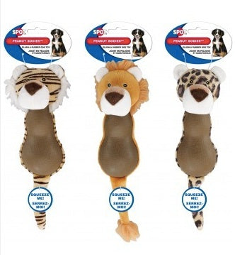 DOG TOY PEANUT BODY JUNGLE ANIMALS 12""