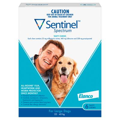 SENTINEL SPECTRUM CHEWS FOR LARGE DOGS 22 - 45KGS BLUE (6 PACK)