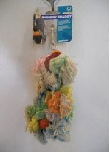 BIRD TOY RAINBOW SHAGGY ROPE WITH WOOD LARGE