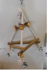 WOODEN TRIANGLE BIRD SWING NATURAL