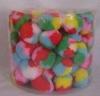 CANISTER OF CAT TOYS SMALL PLUSH MULTI COLOURED BALLS 100 / PCS