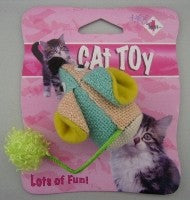 CAT TOY GREEN AND ORANGE MOUSE