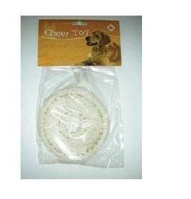 DOG CHEW TOY LOOFAH RING NATURAL 4.5""