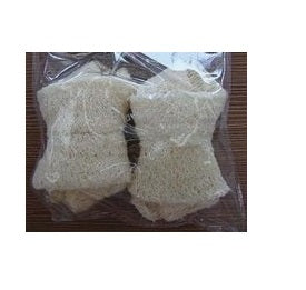 DOG CHEW TOY 2PC LOOFAH KNOTTED BONE NATURAL 3.5""