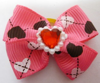 FUR BOW PINK PRINTED HEART SHAPE DIAMONTE 2PACK