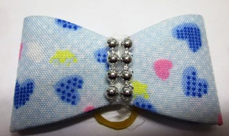FUR BOW BLUE/HEART SHAPE/ PEARLS 2PACK