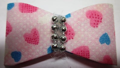 FUR BOW PINK/HEART SHAPE/PEARLS 2PACK