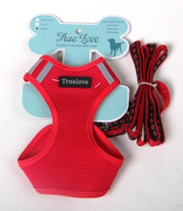 RED LARGE MESH HARNESS & LEAD SET