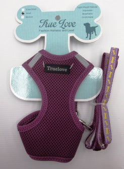 PURPLE LARGE TERYLENE MESH HARNESS & LEAD SET