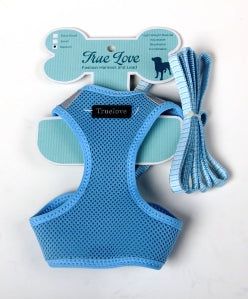 LIGHT BLUE  MEDIUM MESH HARNESS & LEAD SET