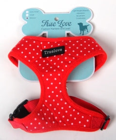 RED XLARGE  POLKA DOTS D-ring HARNESS