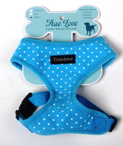 BLUE  XSMALL POLKA DOTS D-ring HARNESS