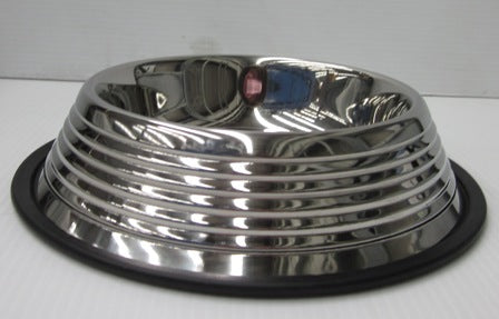 BOWL STAINLESS STEEL RIBBED NON SKID 32oz