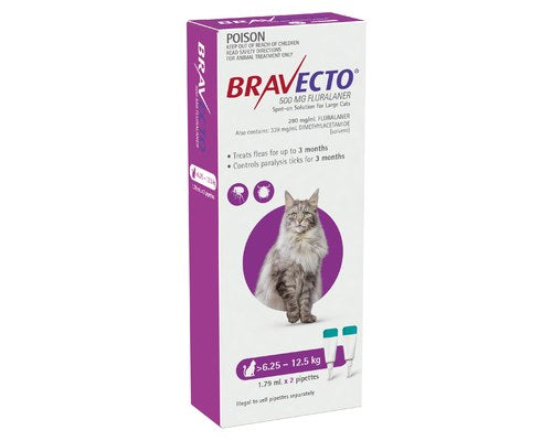 BRAVECTO SPOT ON FOR LARGE CATS 6.25 TO 12.5KGS (2 PACK)
