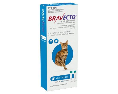 BRAVECTO SPOT ON FOR MEDIUM CATS 2.8 TO 6.25KGS (2 PACK)