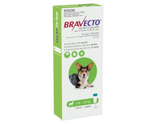 BRAVECTO SPOT ON FOR MEDIUM DOGS 10 TO 20KG (1 PACK)