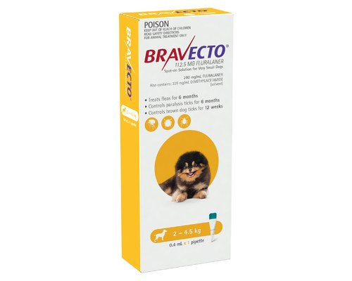 BRAVECTO SPOT ON FOR X-SMALL DOGS 2 TO 4.5KG (1 PACK)