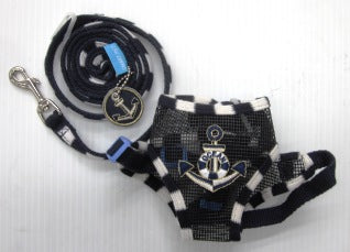 HARNESS & LEAD MEDIUM BLUE WITH ANCHOR