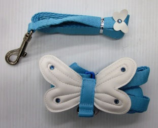 HARNESS & LEAD MEDIUM BLUE WITH BUTTERFLY