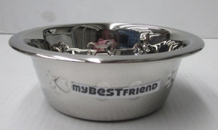 BOWL STAINLESS STEEL EMBOSSED W/ANTI SKID 1.0PT