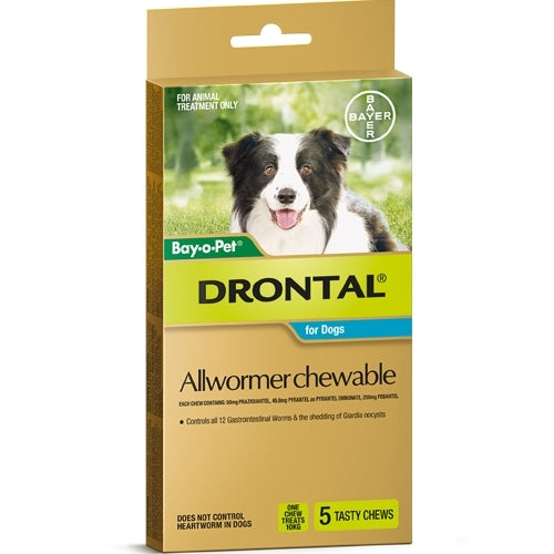 DRONTAL CHEWABLE FOR MEDIUM DOGS 3 - 10KGS (5 PACK)