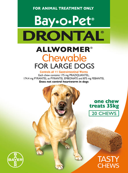 DRONTAL CHEWABLE FOR LARGE DOGS UP TO 35KGS (20 PACK)