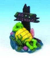 RESIN TURTLE ORNAMENT  NO FISHING POST 10x13x8cm