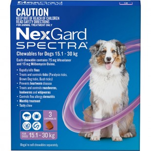 NEXGARD SPECTRA CHEWS PURPLE FOR  DOGS 15.1 - 30KGS (3 PACK)