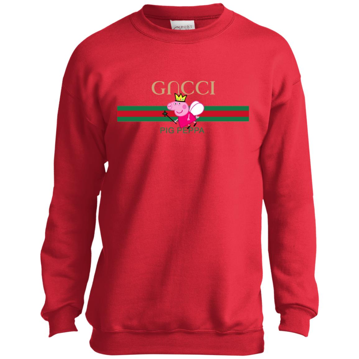 Peppa Pig Gucci Shirt PC90Y Port and Co. Youth Crewneck Sweatshirt