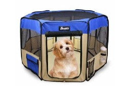 A dog in a blue and tan playpen from Jestpet, available at Happy Wags!