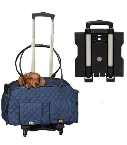 Denim Quilted Airplane Dog Carrier With Daschund