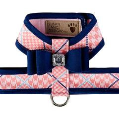 Luxury Designer Dog Harness Peach Pink Blue Bow