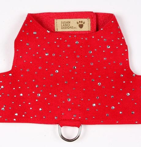 Luxury Dog Harness Red Swarovski® Silver Dust Crystals Ultrasuede®