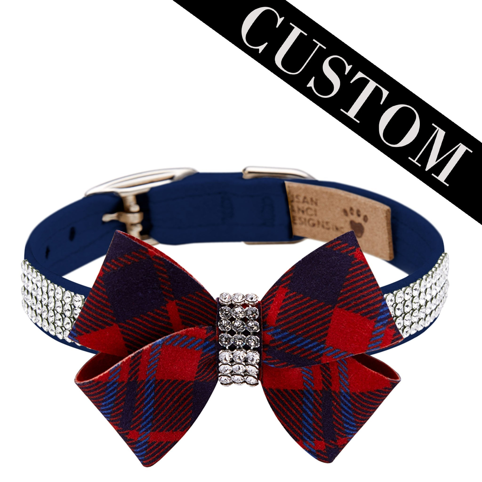 Luxury Dog Collar Red Blue Plaid Bow Ultrasuede® Swarovski crystals®